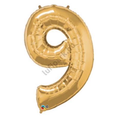 34 inch-es Number 9 Gold - Arany Számos Fólia Lufi
