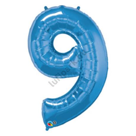 34 inch-es Number 9-es Sapphire Blue - Zafírkék Számos Fólia Léggömb