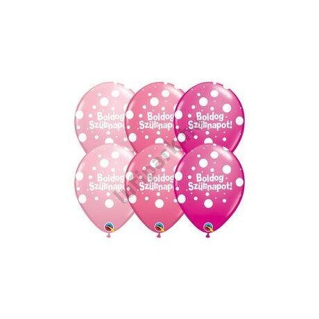 11 inch-es Boldog Szülinapot Big Polka Dots II Lufi Lányos Színekben