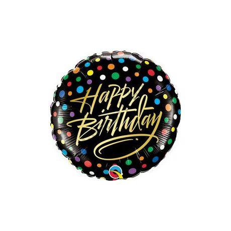 18 inch-es Birthday Gold Script & Dots Szülinapi Fólia Lufi