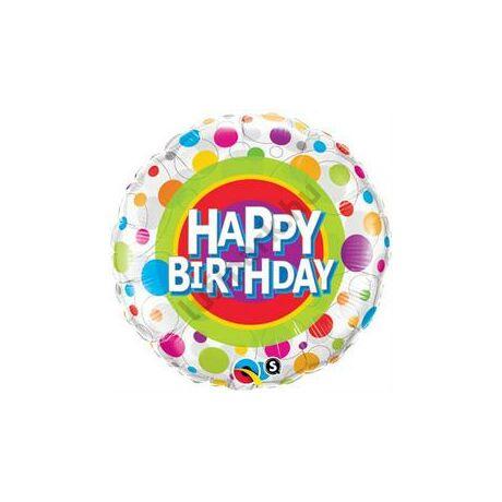 18 inch-es Happy Birthday Colorful Dots - Színes Pöttyös Születésnapi Fólia Léggömb