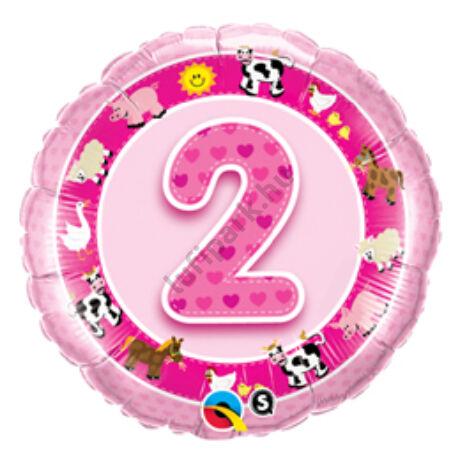 18 inch-es Age 2-es Pink Farm Animals 2. Szülinapi Számos Fólia Lufi