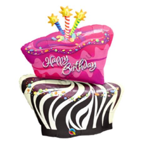 41 inch-es Zebra Csíkos Torta - Birthday Funky Zebra Stripe Cake Születésnapi Fólia Léggömb