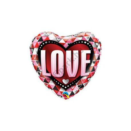 18 inch-es Love Triangles Szerelmes Szív Fólia Lufi