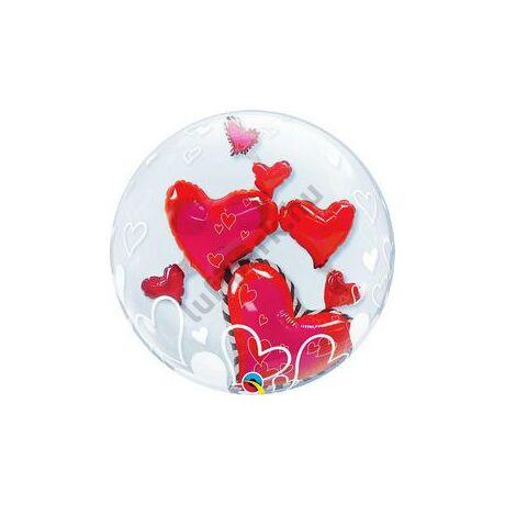 24 inch-es Lovely Floating Hearts Szerelmes Double Bubble Léggömb