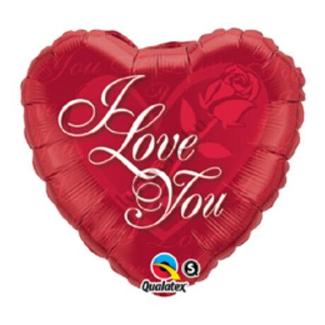 36 inch-es vörös rózsa - I Love You red rose szerelmes fólia léggömb