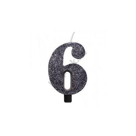 6-os Csillogó Fekete Szülinapi Számgyertya Tartóval