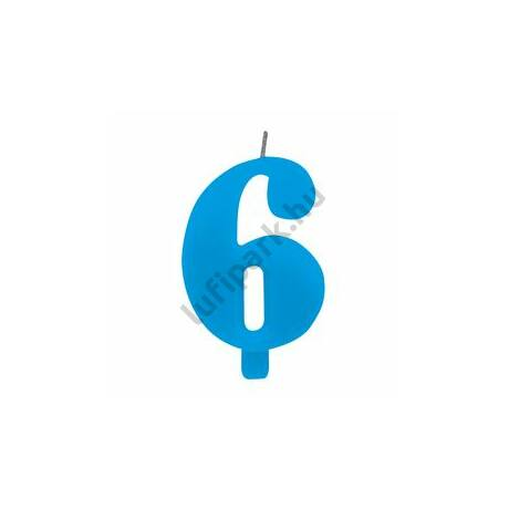 6. Csillagszórós Kék Szülinapi Születésnapi Számgyertya Tartóval