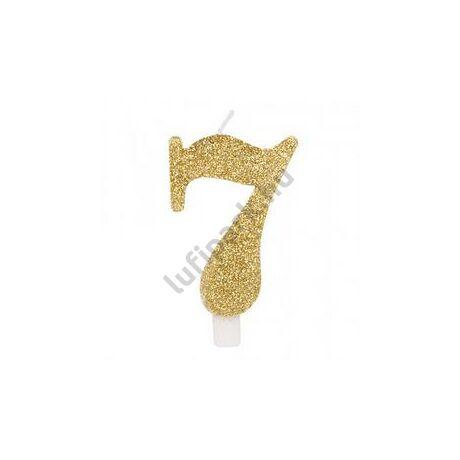 7-es Csillogó Arany Szülinapi Számgyertya Tartóval