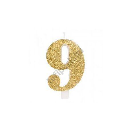 9-es Csillogó Arany Szülinapi Számgyertya Tartóval