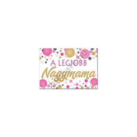 A Legjobb Nagymama Rózsaszín Pasztell Konfettis Hűtőmágnes