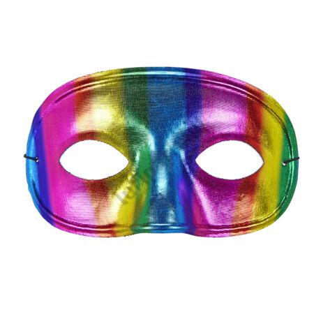 Uniszex szivárvány metálhatású maszk