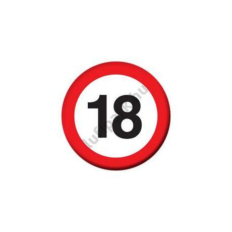 18-as Sebességkorlátozó Szülinapi Számos Kitűző - 5,5 cm