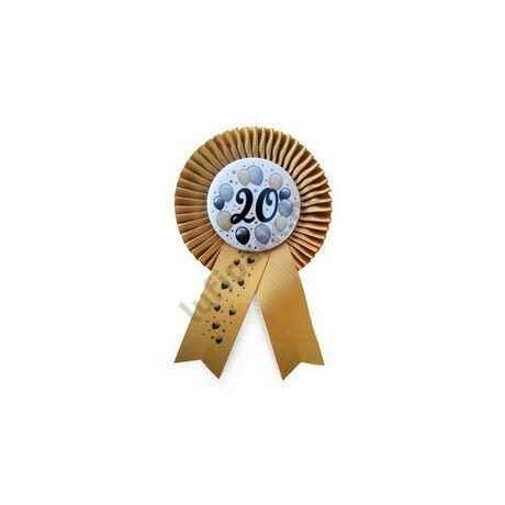 Arany Szalagos 20-as Elegáns Léggömbös Szülinapi Számos Parti Kitűző