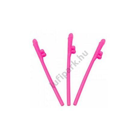 Pink Willy Szívószál Lánybúcsúra - 8 db-os