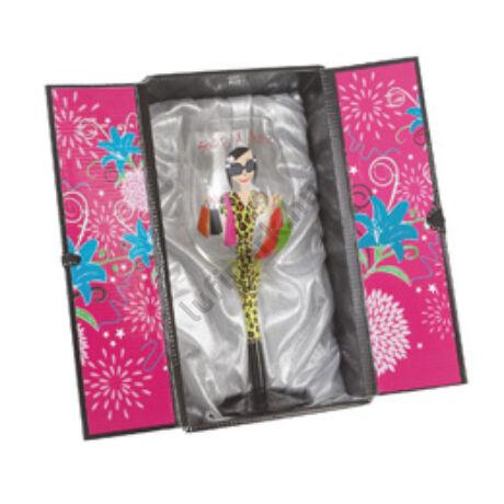 Shop-A-Holic Színes Üveg Boros Pohár Szülinapra Elegáns Csajos Dísz Csomagolásban - 500ml