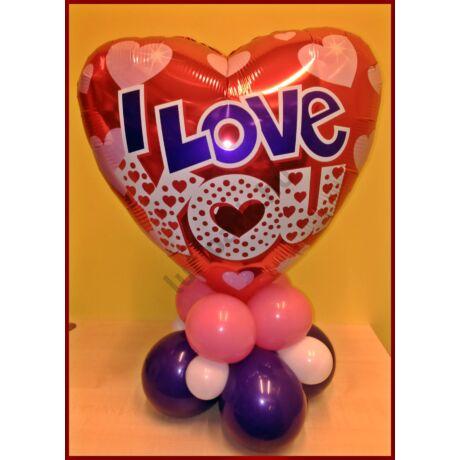 Valentin szívecskés dekoráció lila felirattal