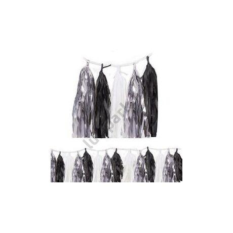 Ezüst-Fekete-Fehér Rojtos Bojtos Girland Dekorációs Függő Füzér