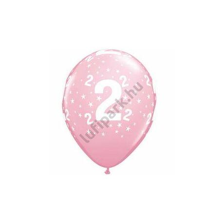 11 inch-es 2-es printelt Stars Pink Szülinapi Számos Lufi