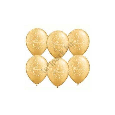 11 inch-es Sok Boldogságot Metallic Gold Virágmintás Lufi Esküvőre