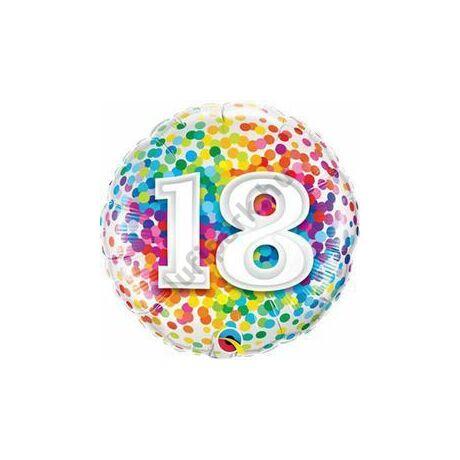 18 inch-es 18 Rainbow Confetti Szülinapi Fólia Lufi