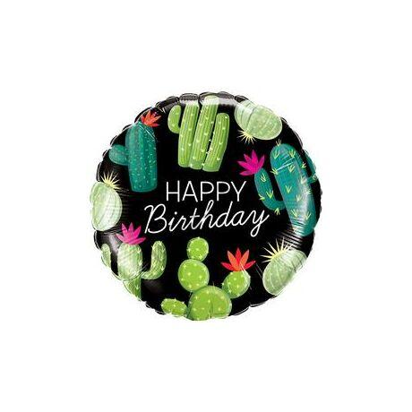 18 inch-es Cactuses - Kaktusz Mintás Happy Birthday Szülinapi Fólia Lufi
