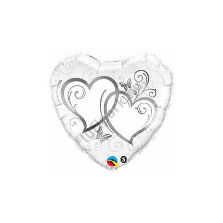 36 inch-es Entwined Hearts Silver Esküvői Szív Fólia Lufi