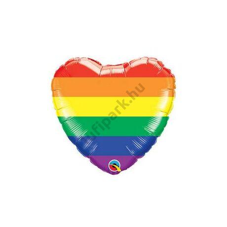 18 inch-es Rainbow Stripes - Szivárvány Csíkos Szív Alakú Fólia Lufi