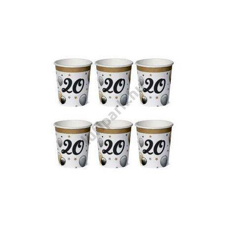 20-as Számos Szülinapi Elegáns Léggömbös Parti Papír Pohár - 250 ml, 6 db-os