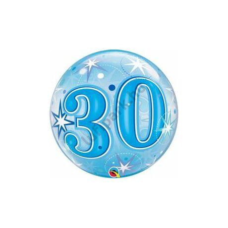 22 inch-es 30 Blue Starburst Sparkle Szülinapi Számos Bubble Lufi