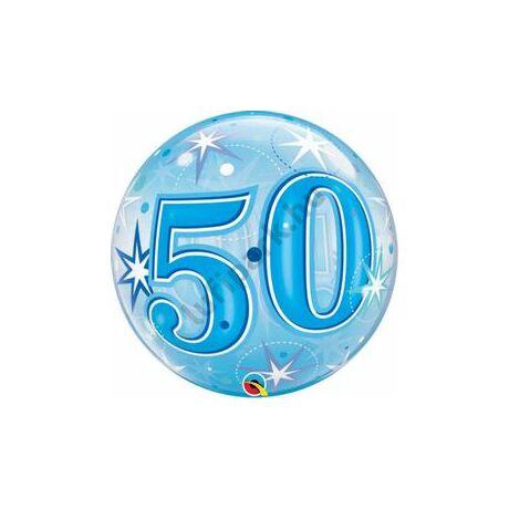 22 inch-es 50 Blue Starburst Sparkle Szülinapi Számos Bubble Lufi