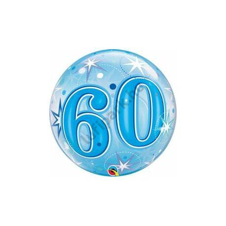 22 inch-es 60 Blue Starburst Sparkle Szülinapi Számos Bubble Lufi