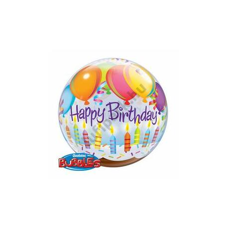 22 inch-es Birthday Balloons & Candles Szülinapi Bubbles Lufi