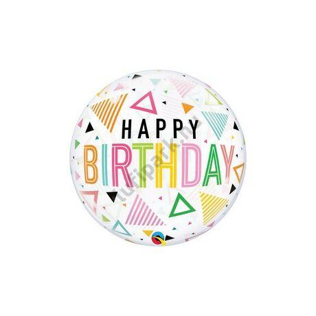 22 inch-es Happy Birthday Feliratú - Rainbow Triangles Szülinapi Bubble Lufi