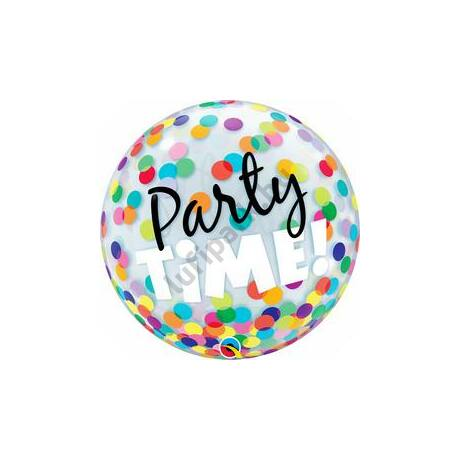 22 inch-es Party Time! Colorful Dots Pöttyös Bubble Lufi