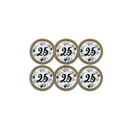 25-ös Számos Szülinapi Elegáns Léggömbös Parti Papír Tányér, 23 cm-es, 6 db-os