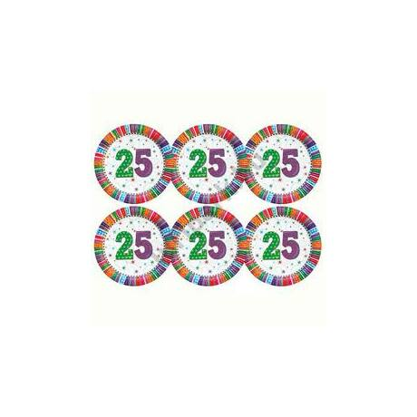 25-ös Szülinapi Radiant Parti Tányér, 23 cm-es, 6 db-os