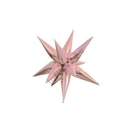 27 inch-es 3D Csillag Fólia Rózsaarany - Rose Gold Lufi