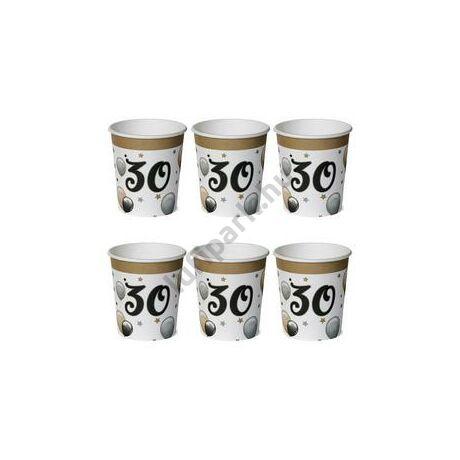 30-as Számos Szülinapi Elegáns Léggömbös Parti Papír Pohár - 250 ml, 6 db-os