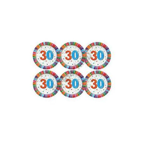 30-as Szülinapi Radiant Parti Tányér, 23 cm-es, 6 db-os