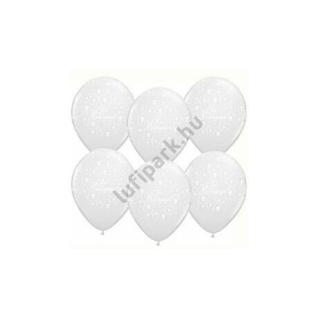 11 inch-es Sok Boldogságot Pearl White Esküvői Lufi