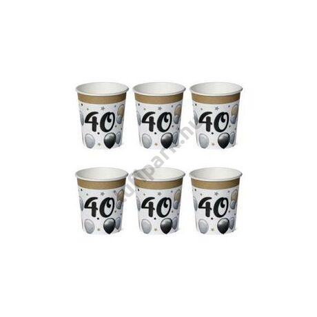 40-es Számos Szülinapi Elegáns Léggömbös Parti Papír Pohár - 250 ml, 6 db-os