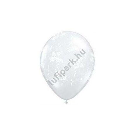11 inch-es Birthday-A-Round Diamond Clear Szülinapi Lufi