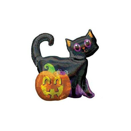 Black Cat & Pumpkin Holografikus Super Shape Fólia Lufi Halloween-ra