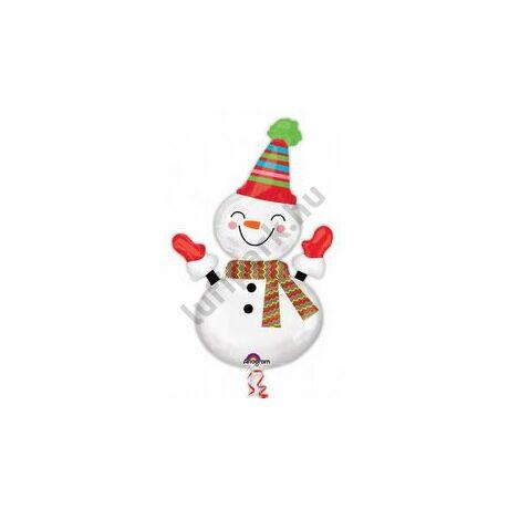 Mosolygó Hóember - Smiley Snowman Karácsonyi Super Shape Fólia Lufi