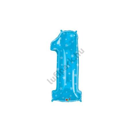38 inch-es Number 1 Kék Csillag Mintás Fólia Lufi