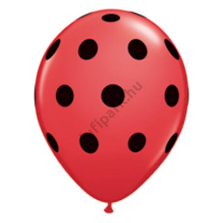 11 inch-es Big Polka Dots Red/Black Pöttyös Lufi