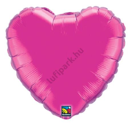 18 inch-es Sötét Rózsaszín - Magenta Szív Fólia Lufi