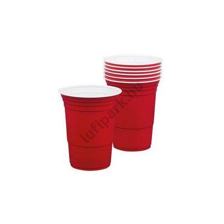 Piros Amerikai Műanyag Parti Pohár - 400 ml, 6 db-os