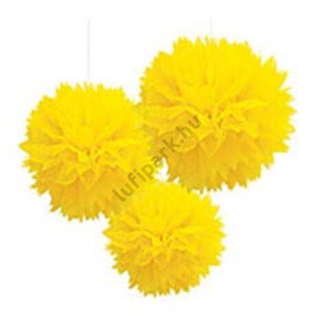 Sárga Bolyhos Függő Dekoráció - 41 cm, 3 db-os